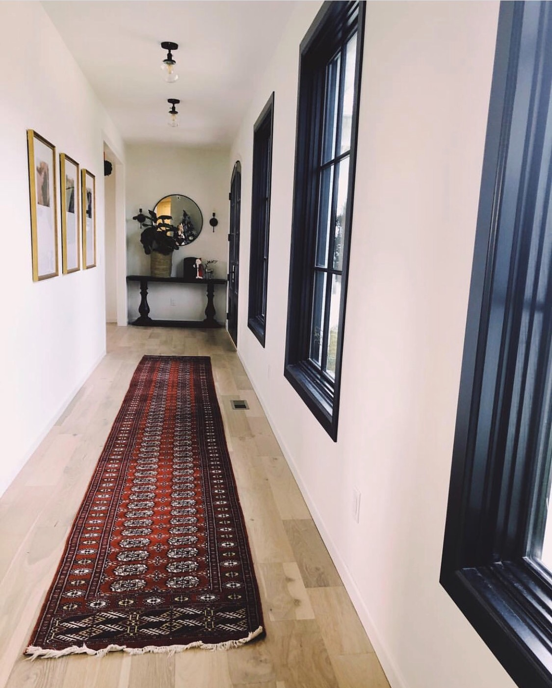 Hallway with Rug and Windows