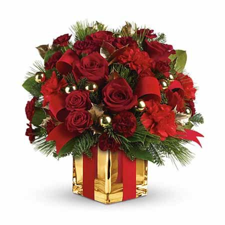 Christmas flowers gift delivery red roses gold present bouquet