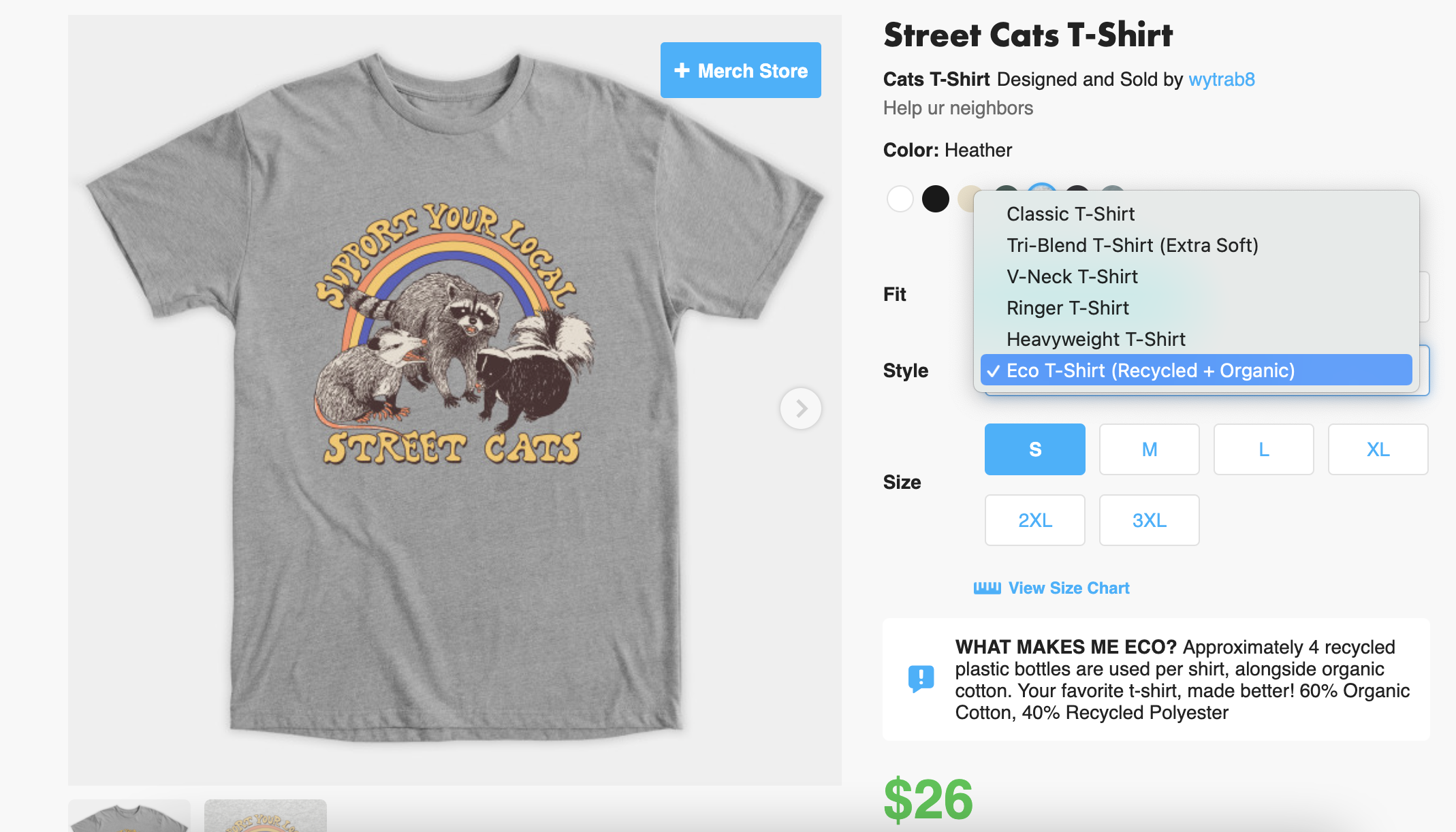 """a TeePublic product page showing a gray t-shirt with a slogan, """"Support your Local Street Cats,"""" and a drop-down menu showing the eco/recycled tee, its colorways, fit, and sizing"""