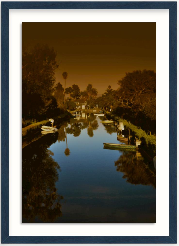 photo of Venice California canal in blue walnut frame