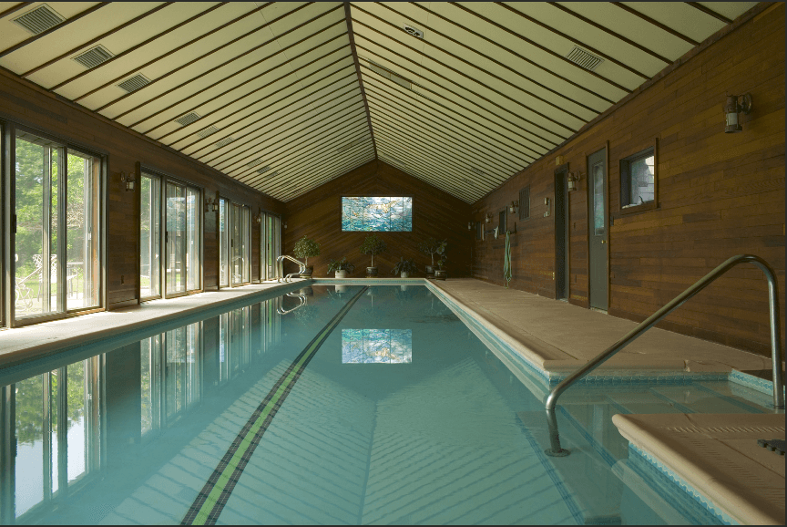 The old 75' lap pool in its 85' pool house