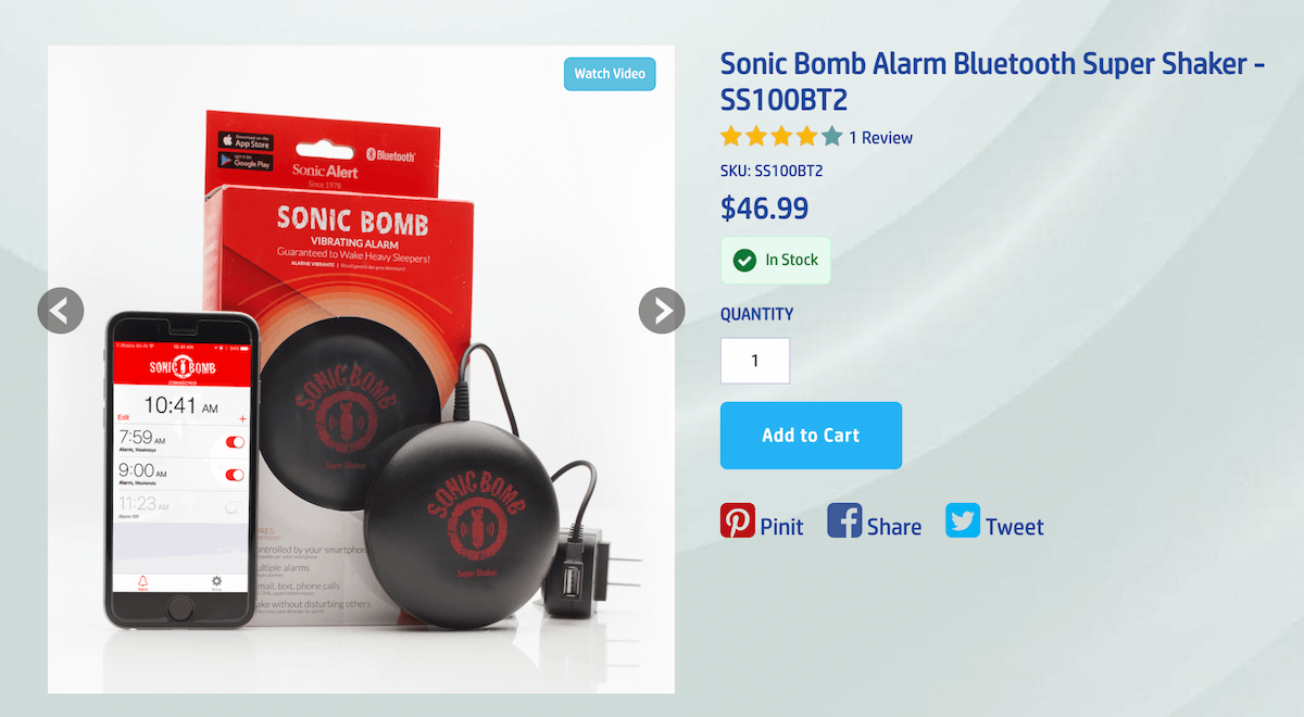bed shaker alarm clock: Sonic Alert Sonic Bomb Bluetooth Super Shaker