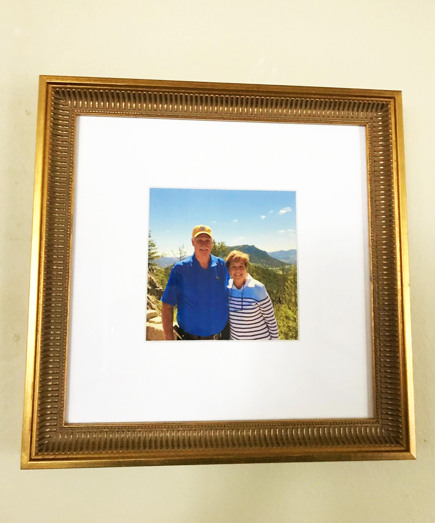 anniversary photo in classic gold picture frame