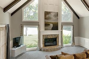 Special shape fiberglass windows in living room