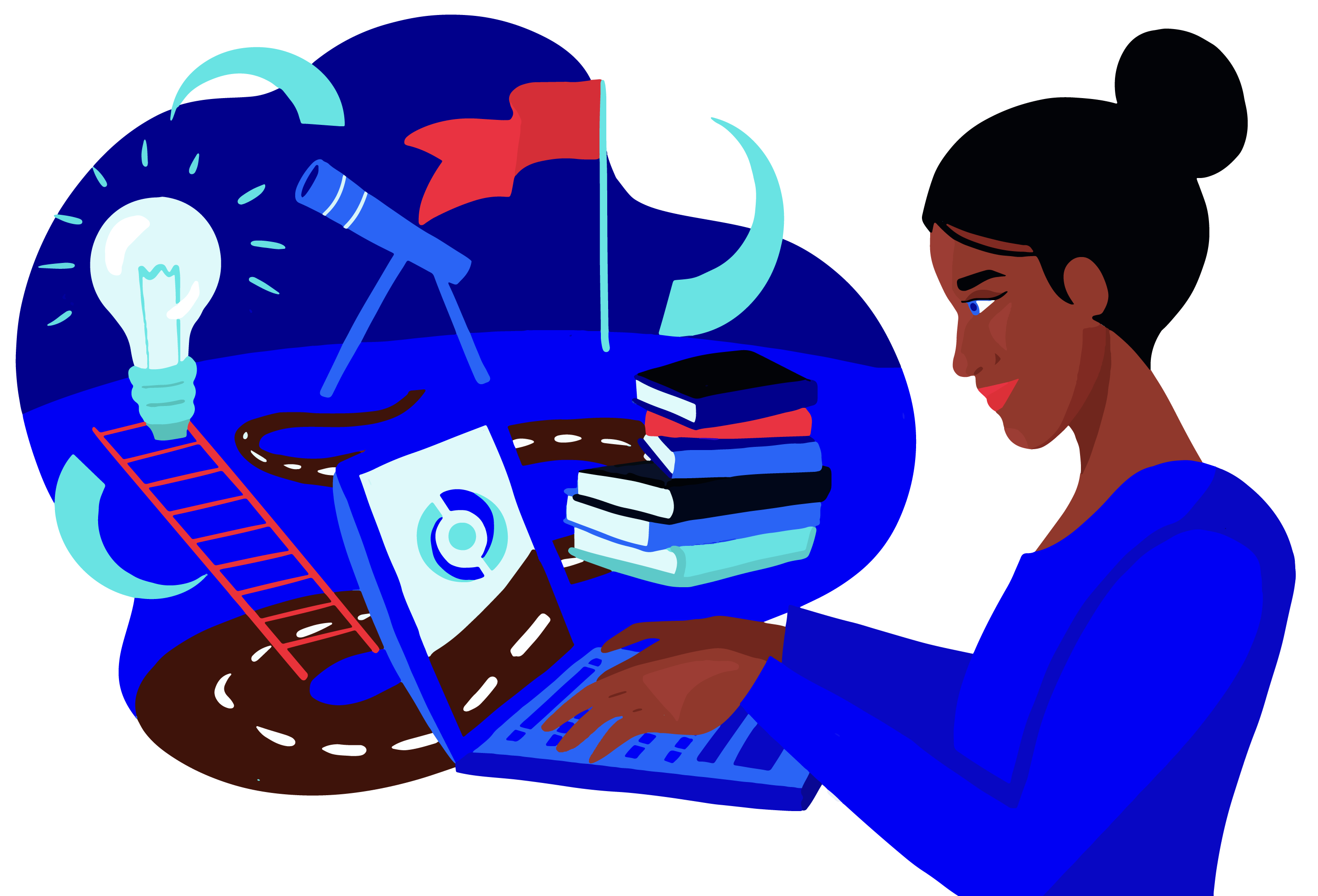Young woman exploring career opportunities on a laptop.