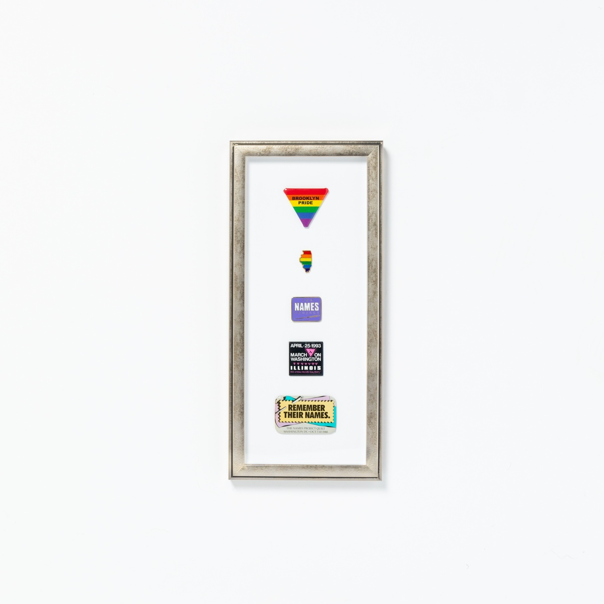 gay pride pins float mounted in silver frame