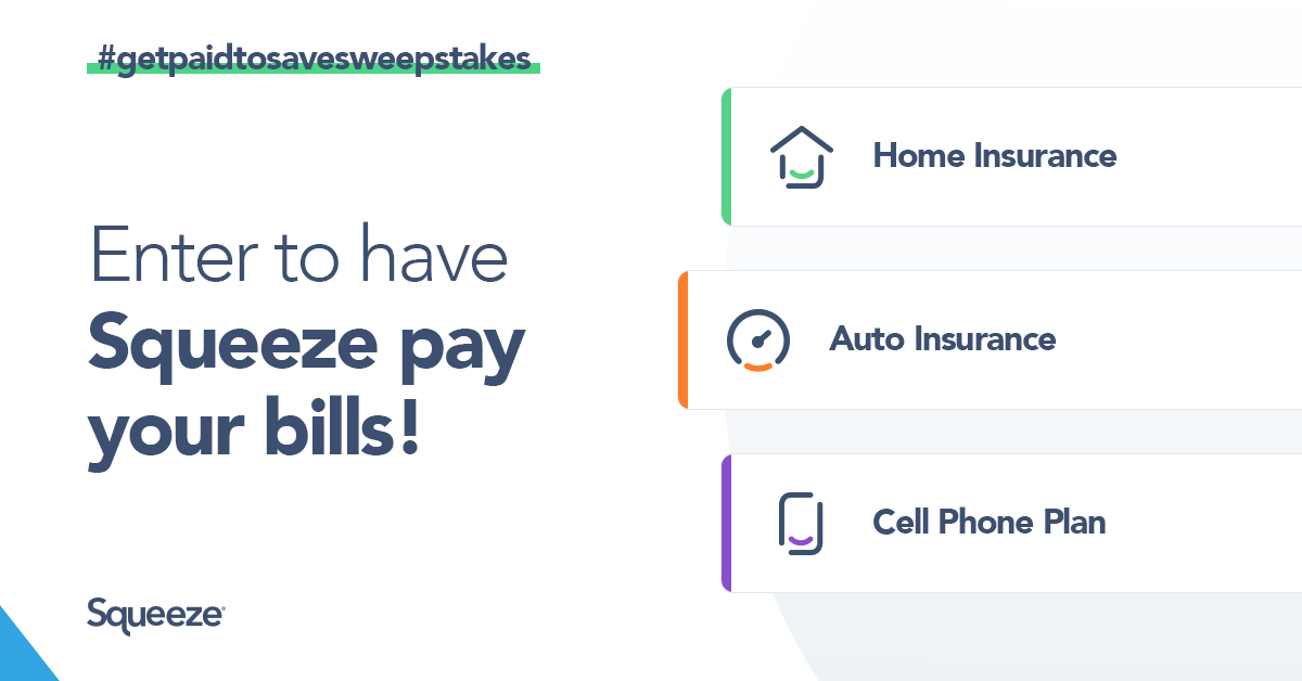 Get Paid to Save Sweepstakes from Squeeze launches