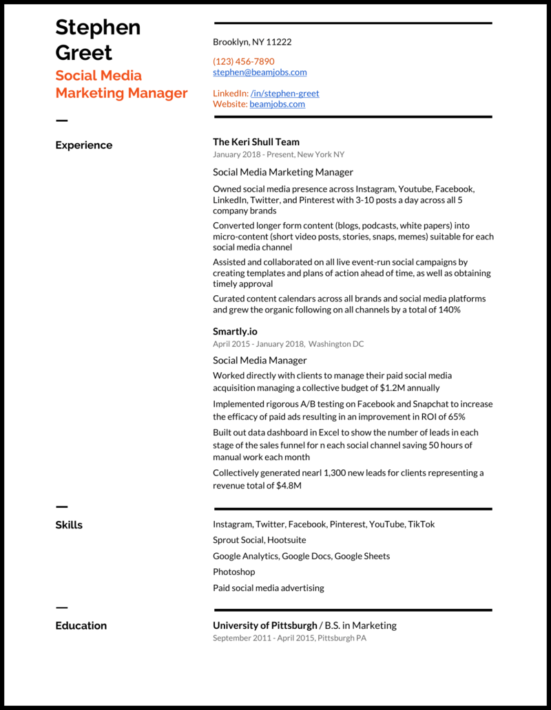 5 Social Media Manager Resume Examples For 2021