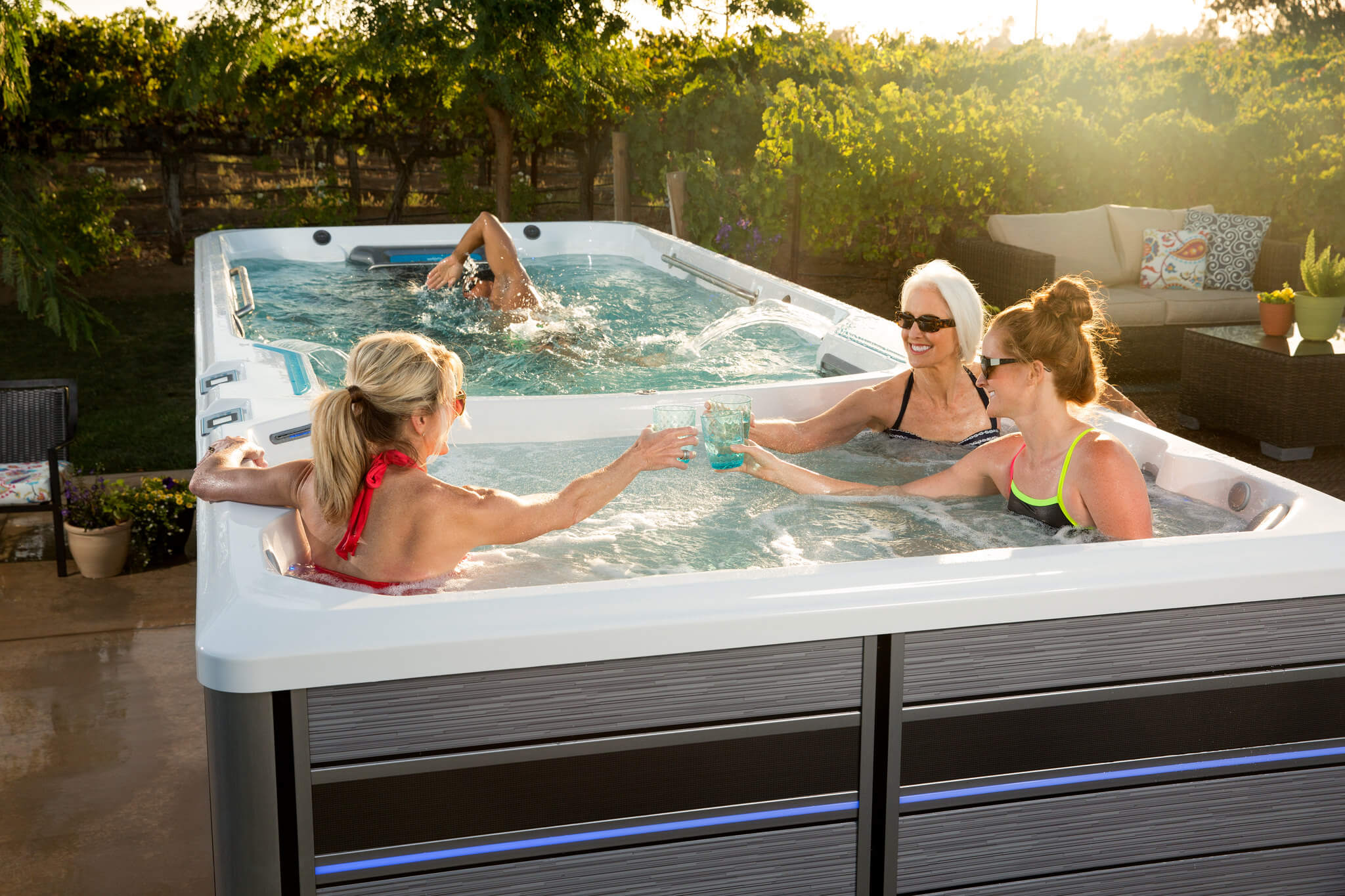 An E2000 Endless Pools Fitness System swim spa with dual chambers