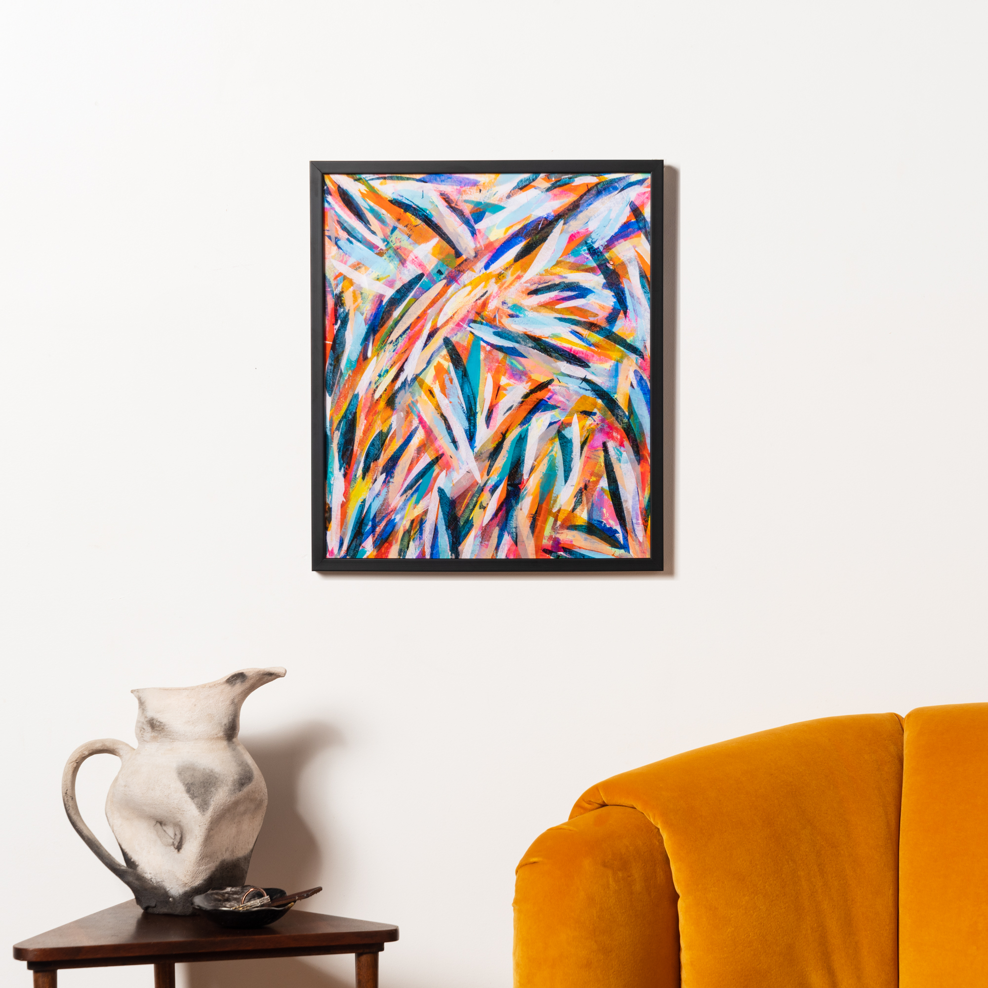 colorful, abstract art in black frame
