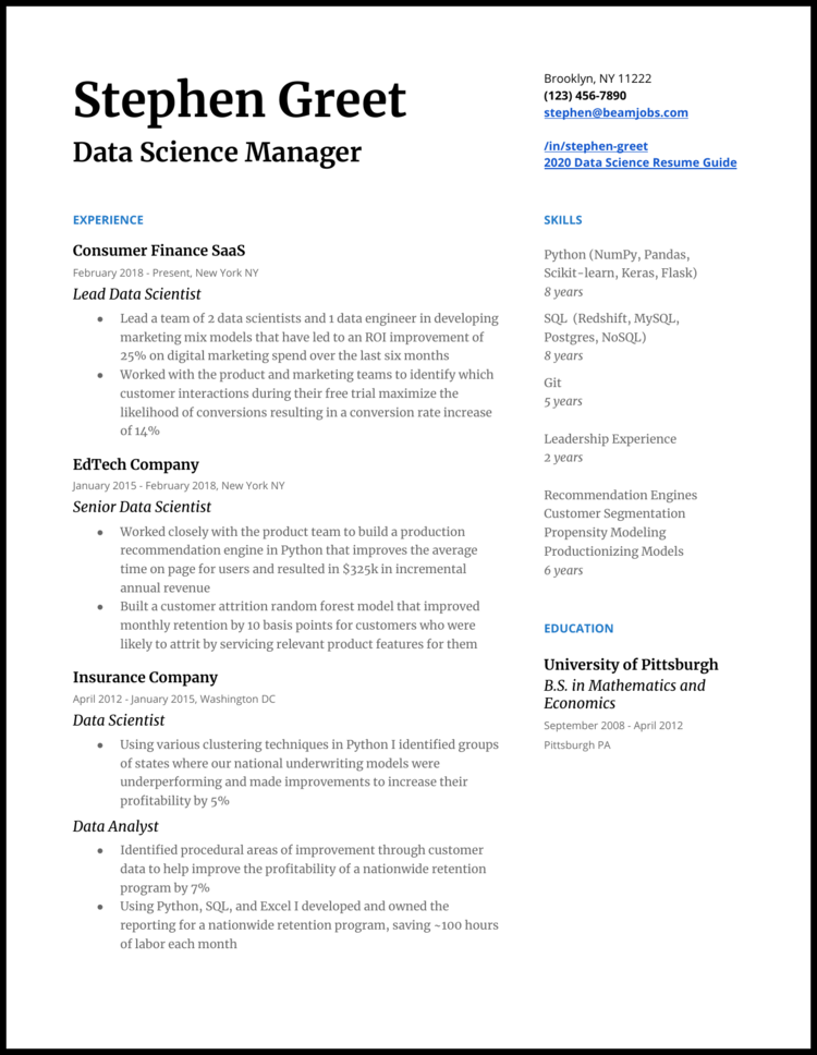 Data Science Manager Resume Example