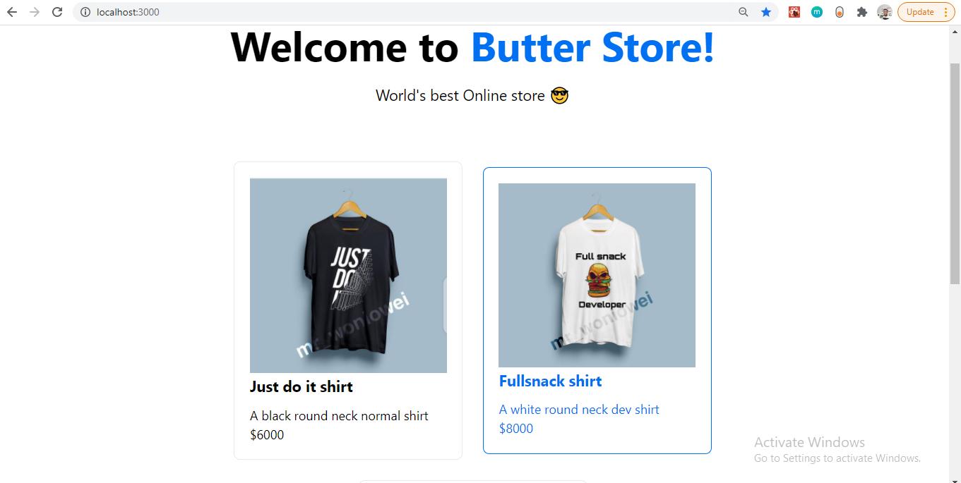 Screenshot: Ecommerce tutorial shopping page