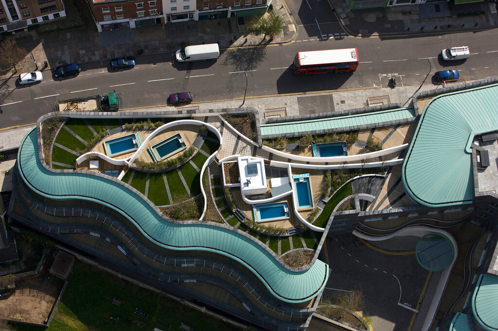 five penthouse Endless Pools on the rooftops of London's Alfred Court complex