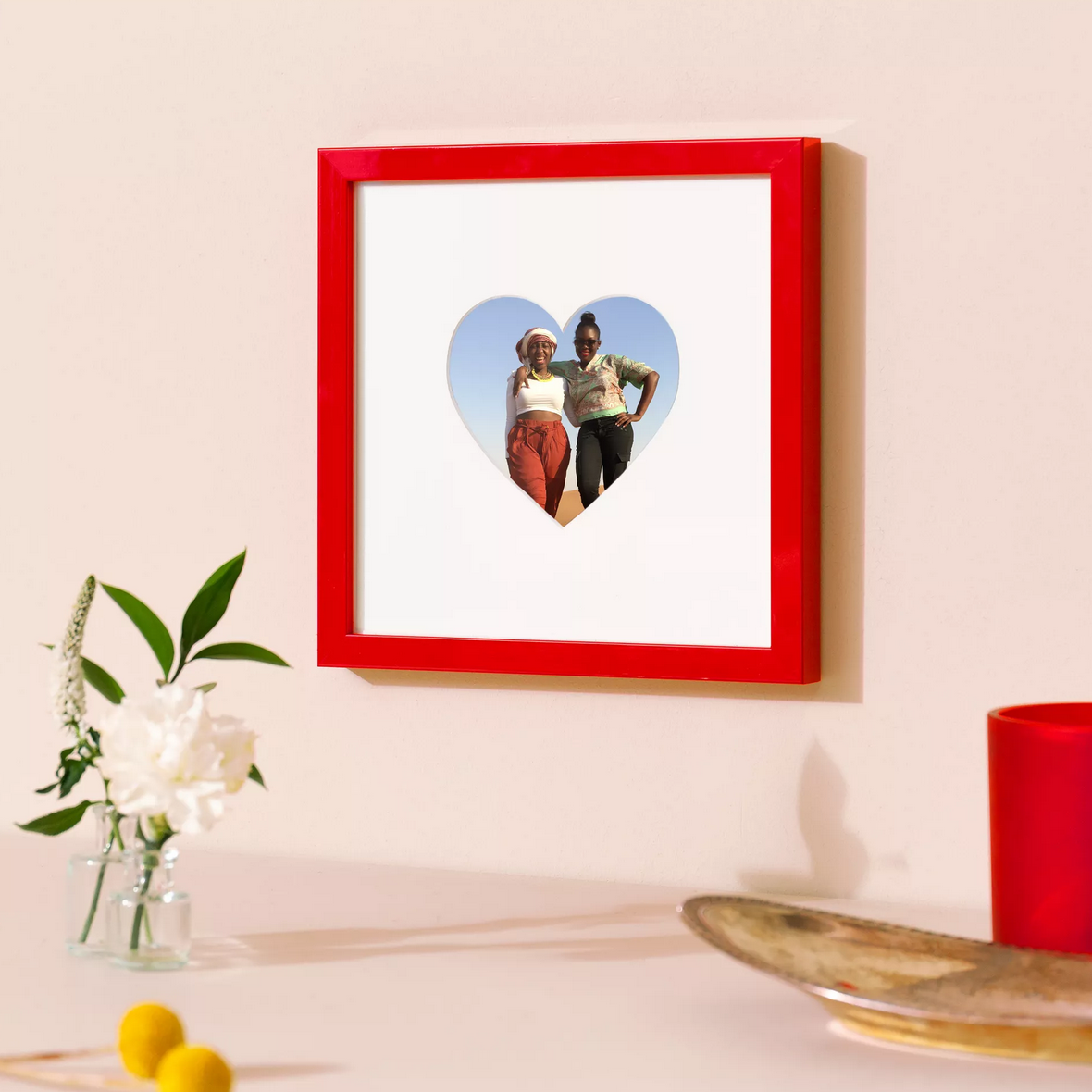red frame with heart shaped mat