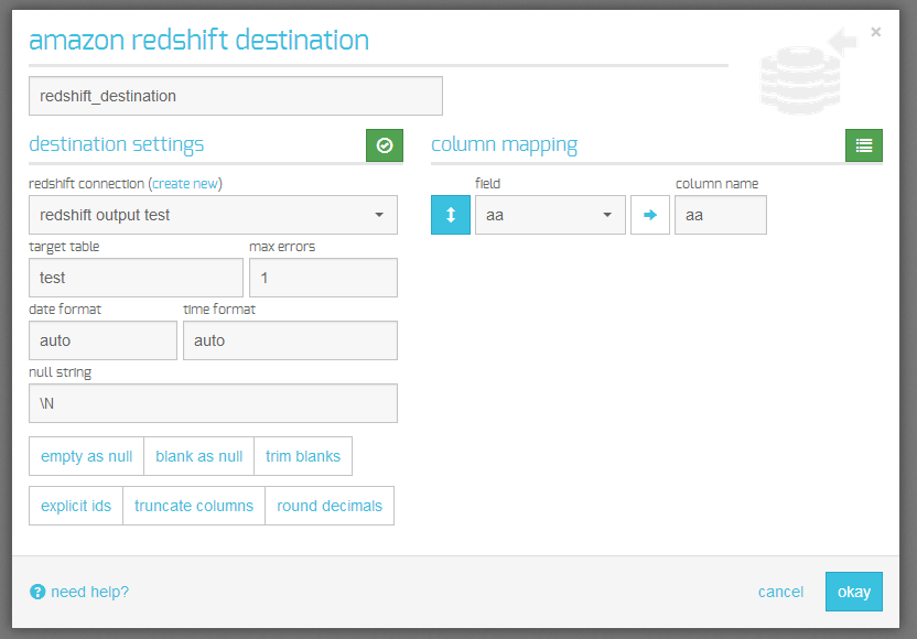 amazon redshift destination