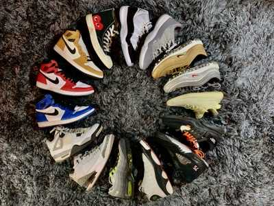Several sneakers arranged in a circular formation