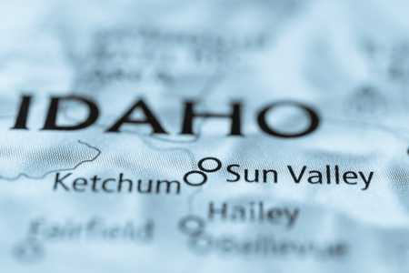 Close up of Sun Valley and Ketchum Idaho on a black and white map