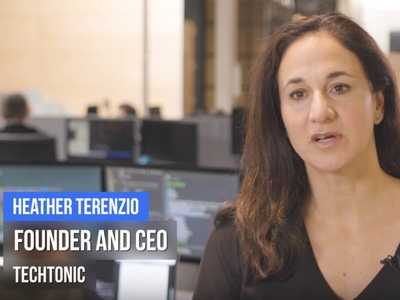 Snapshot of video showing Heather Terenzio, Founder and CEO of Techtonic speaking to the camera