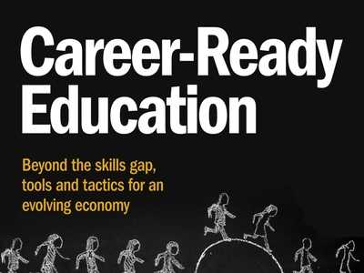 Graphic with the title Career-Ready Education and subtitle Beyond the skills gap, tools and tactics for an evolving economy and under the titles roughly sketched human figures run in a line over a half circle rising from below them
