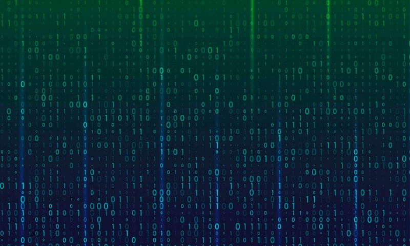 Computer binary on a green and blue gradient background