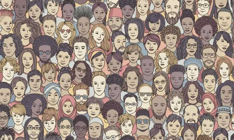 Cartoon faces made up of a diverse group of people