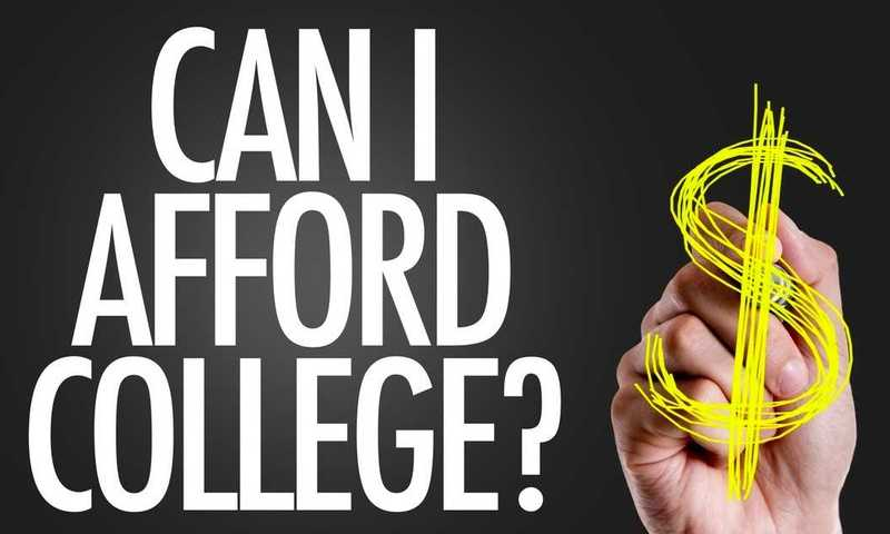 Graphic with the text Can I Afford College? and a hand that is drawing a dollar symbol