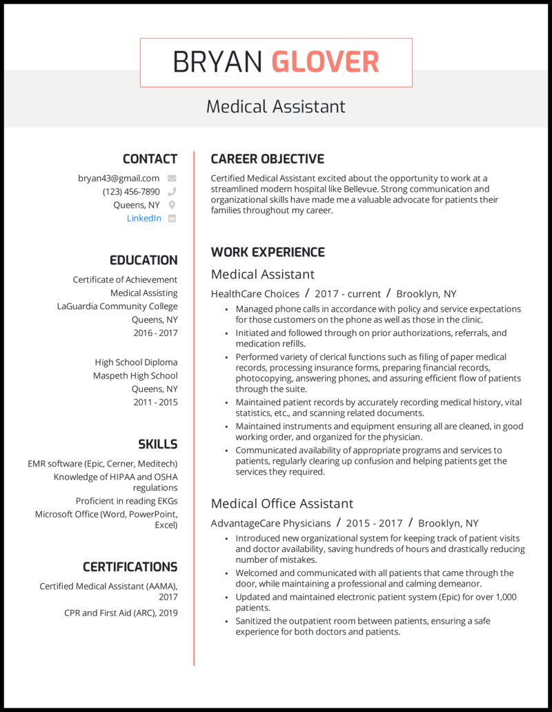 Medical assistant resume with 5 years of experience