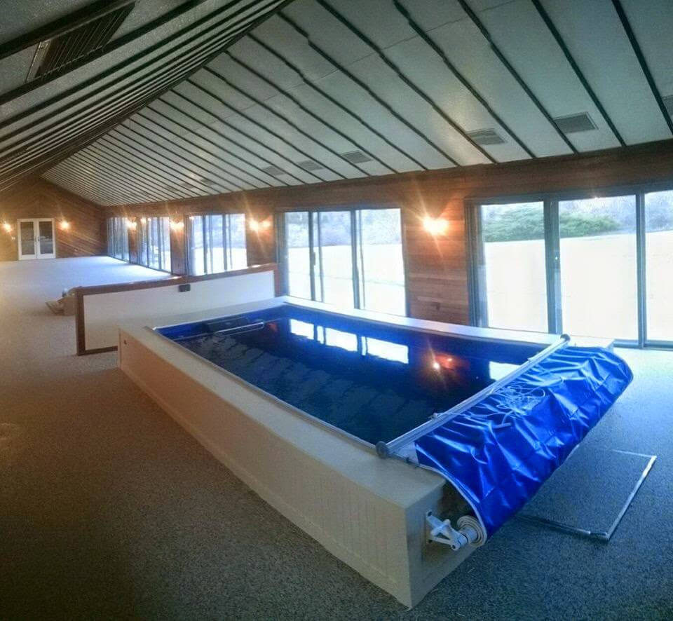 The space-saving Endless Pool in the 85' pool house
