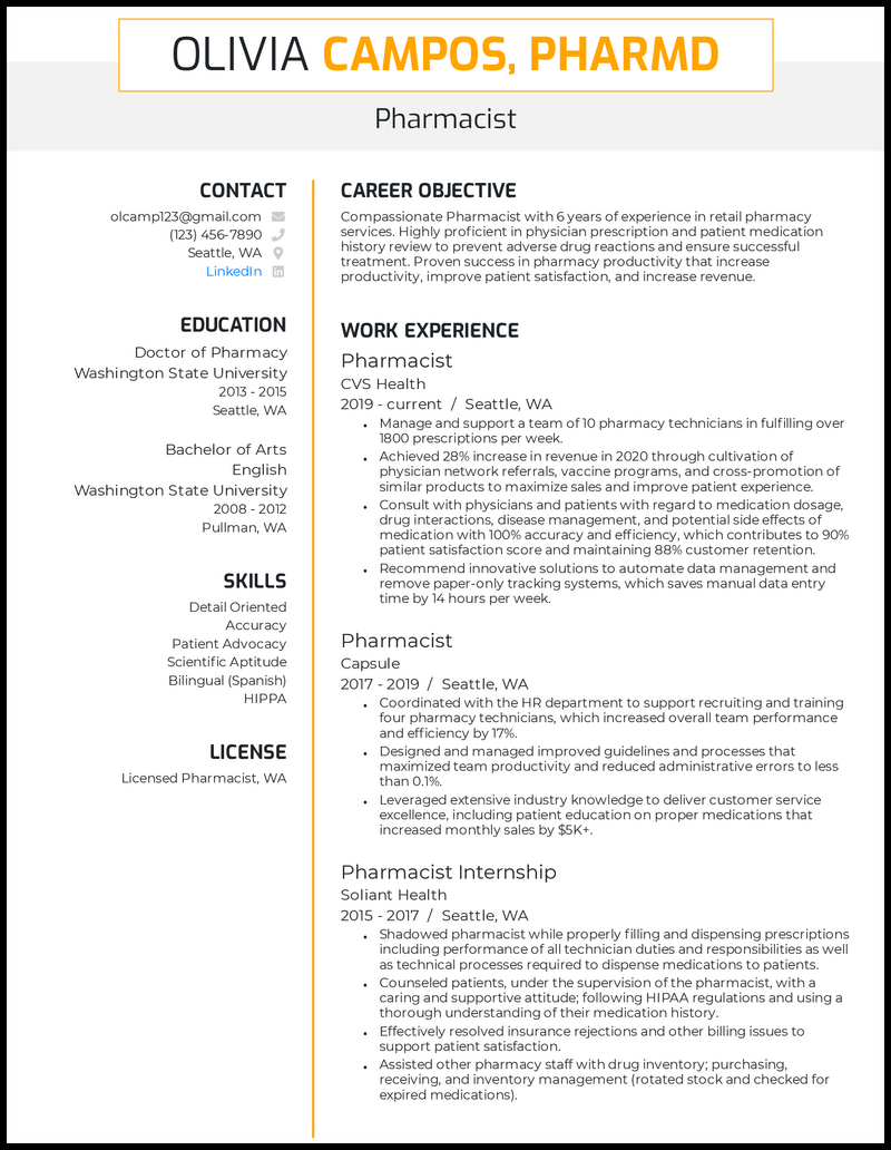 Pharmacist resume with 6 years of experience