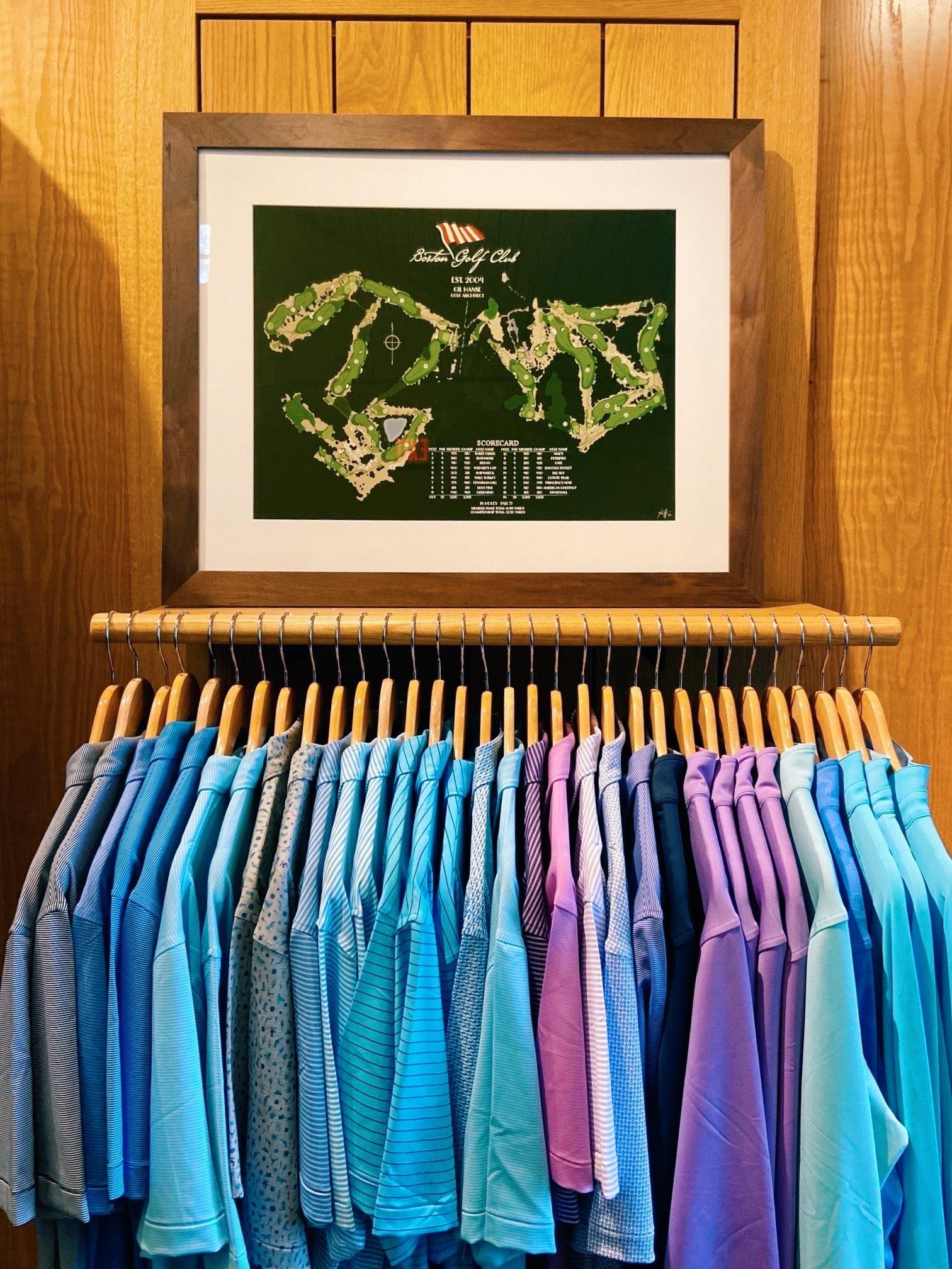 boston golf club course map framed in closet