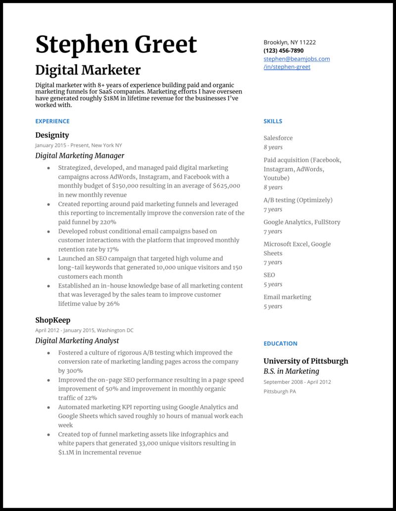 5 Digital Marketing Resume Examples For 2021