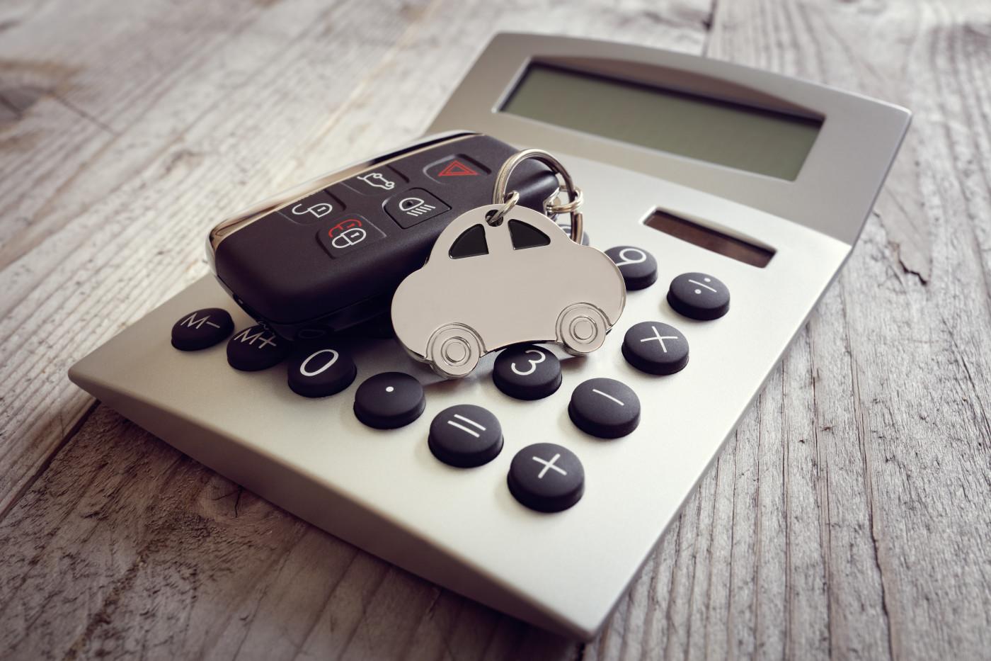 car keys on a calculator