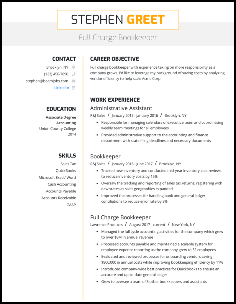 General bookkeeper resume the coffee trader essay