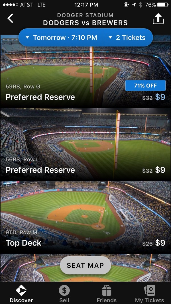 Gametime Baseball in the App