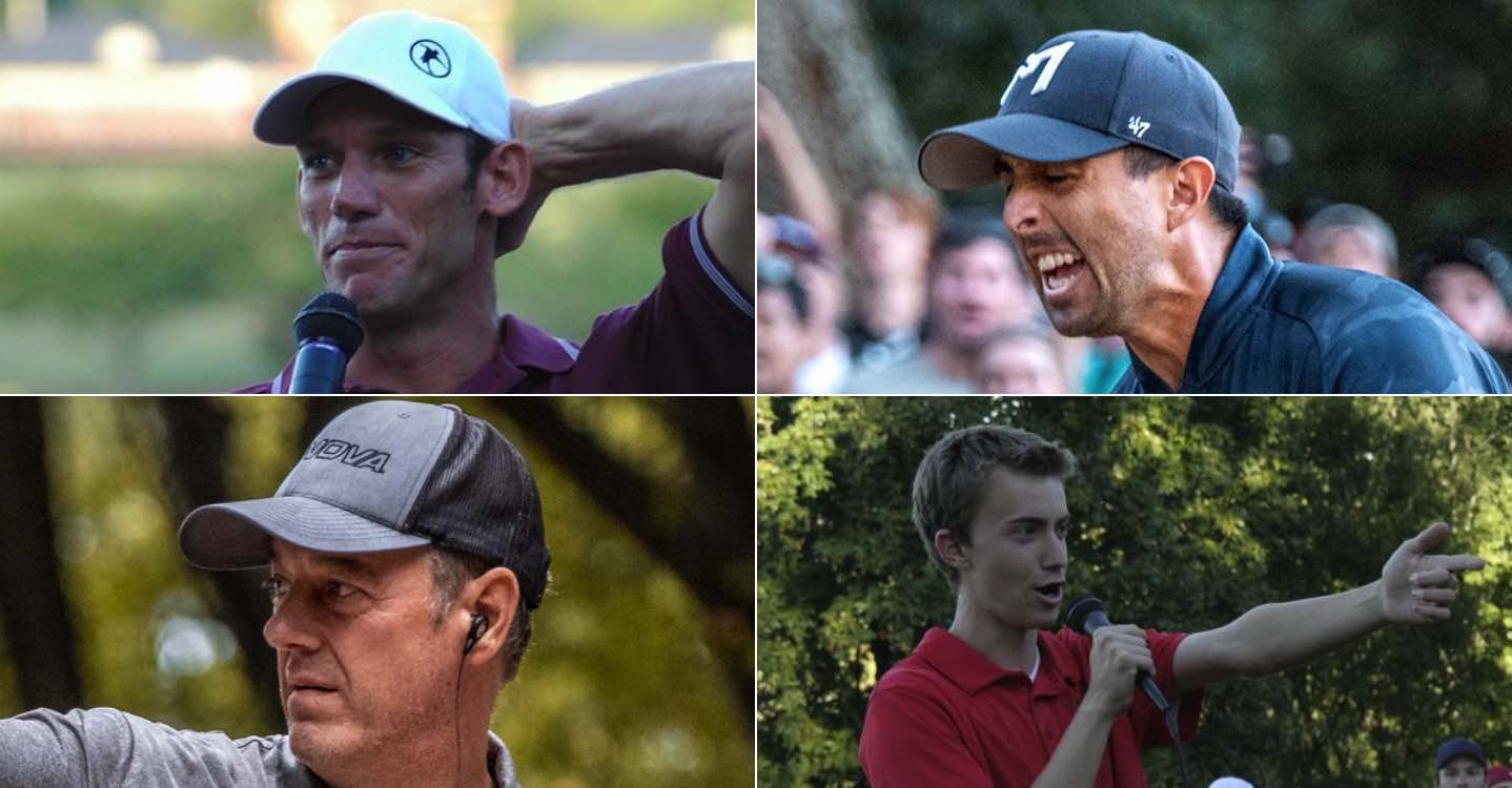 Close-ups of four professional disc golfers' faces