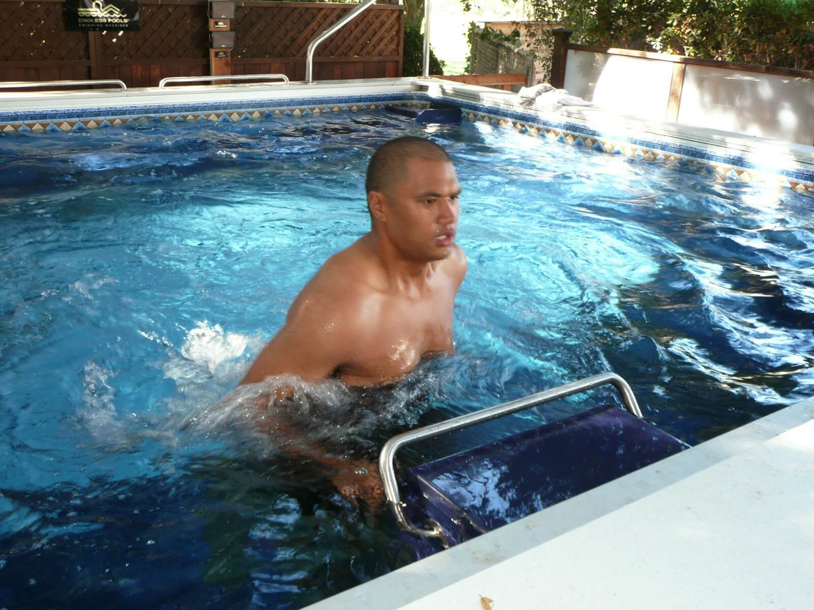 Sam from The Biggest Loser, Season 9, using the Endless Pools Underwater Treadmill