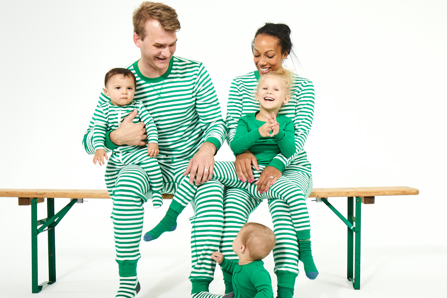 Primary green matching family PJs