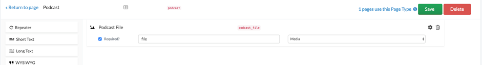 The podcast page type