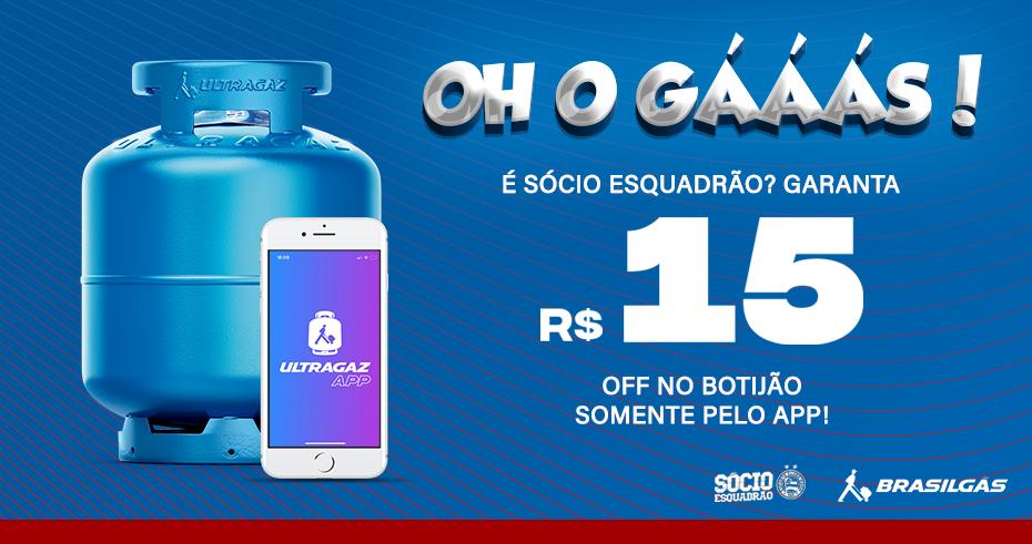 É Sócio Esquadrão? Garanta R$15 Off no botijão somente pelo App!