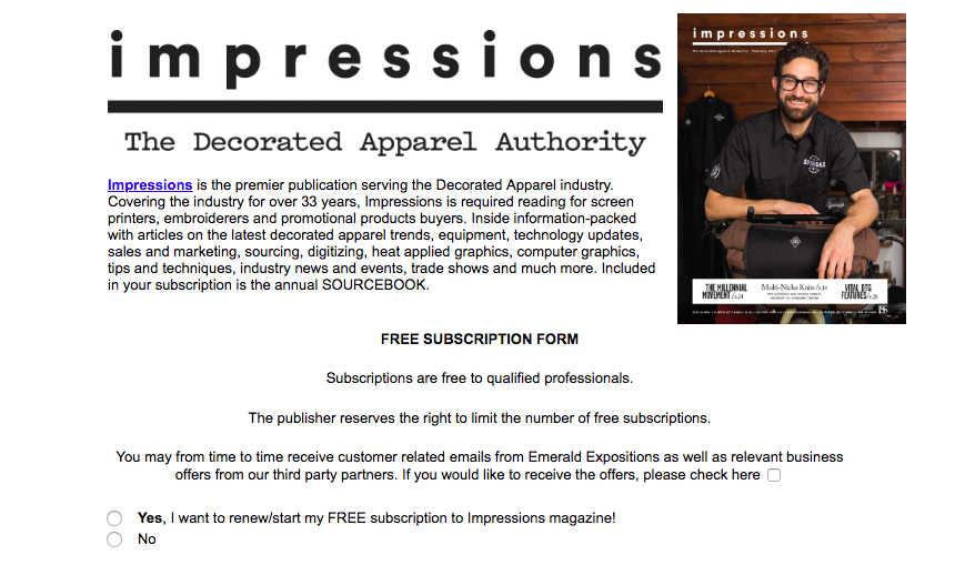 The Impressions Magazine free subscription page