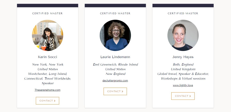 Screenshot of a webpage displaying three Kon Mari certified consultants
