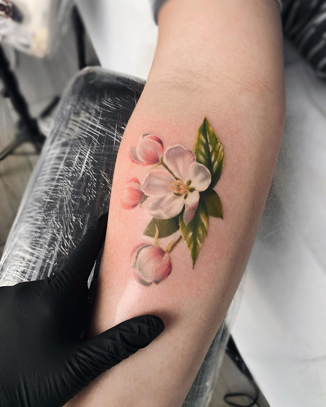 cherry blossom tattooed flower