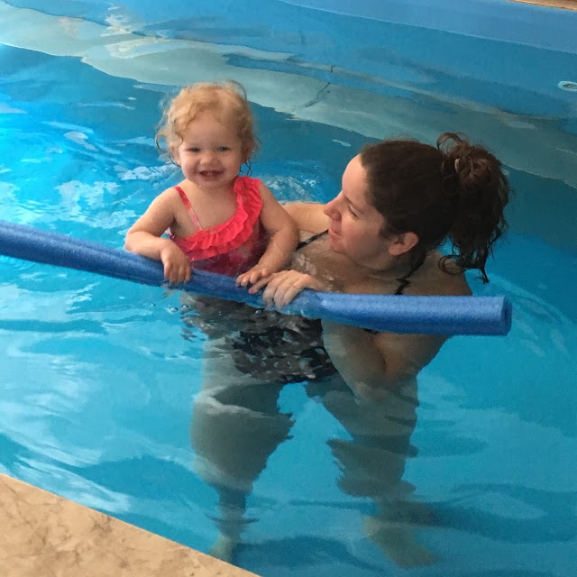 Linda's daughter and granddaughter in her Original Endless Pools swimming machine