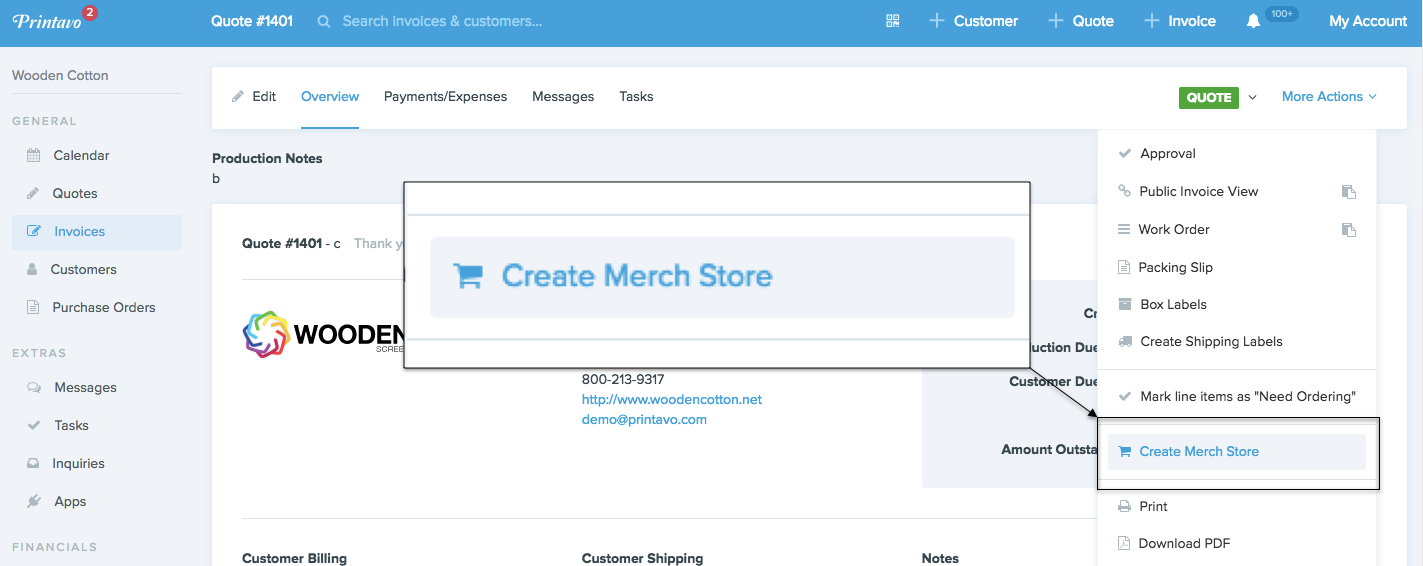 Create a store in Printavo Merch through a Printavo Quote