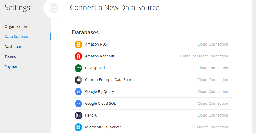 Chart.io connect a new data source
