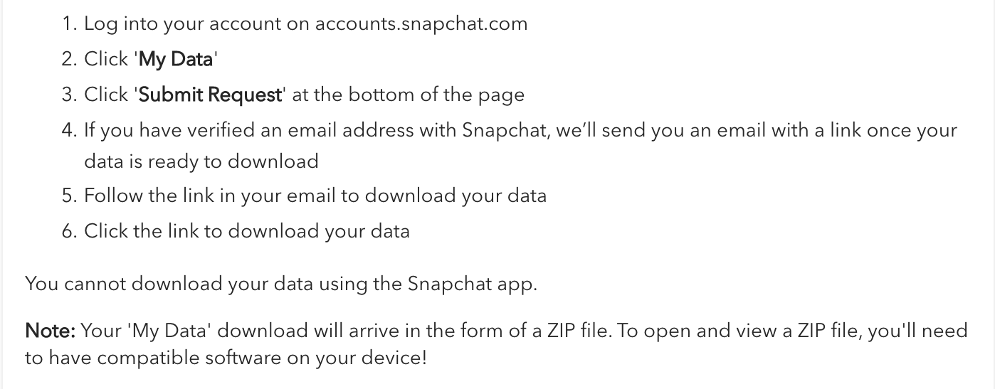 snapchat data download email