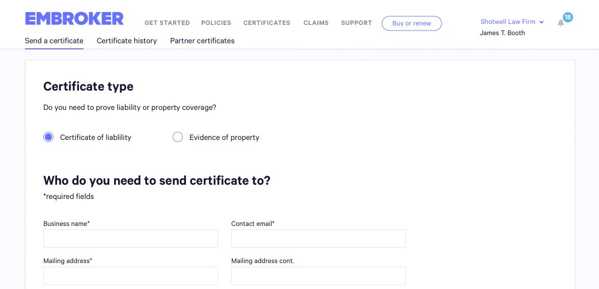 Send a certificate