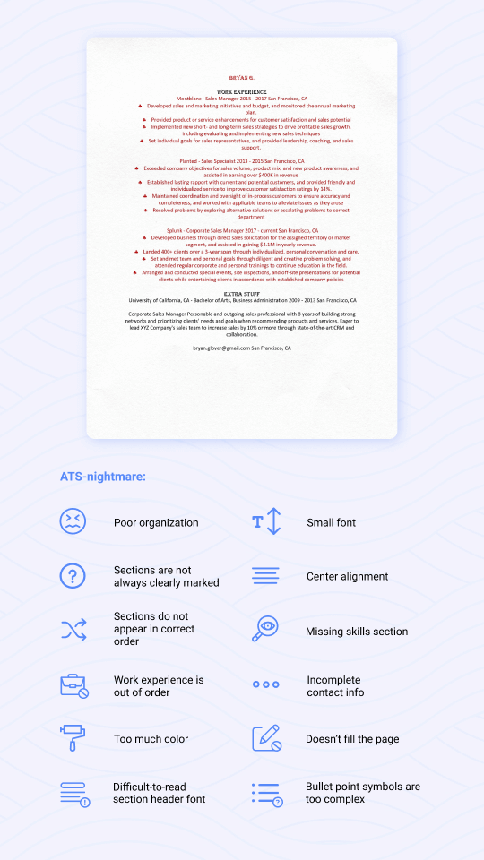 ATS-nightmare resume example with descriptions