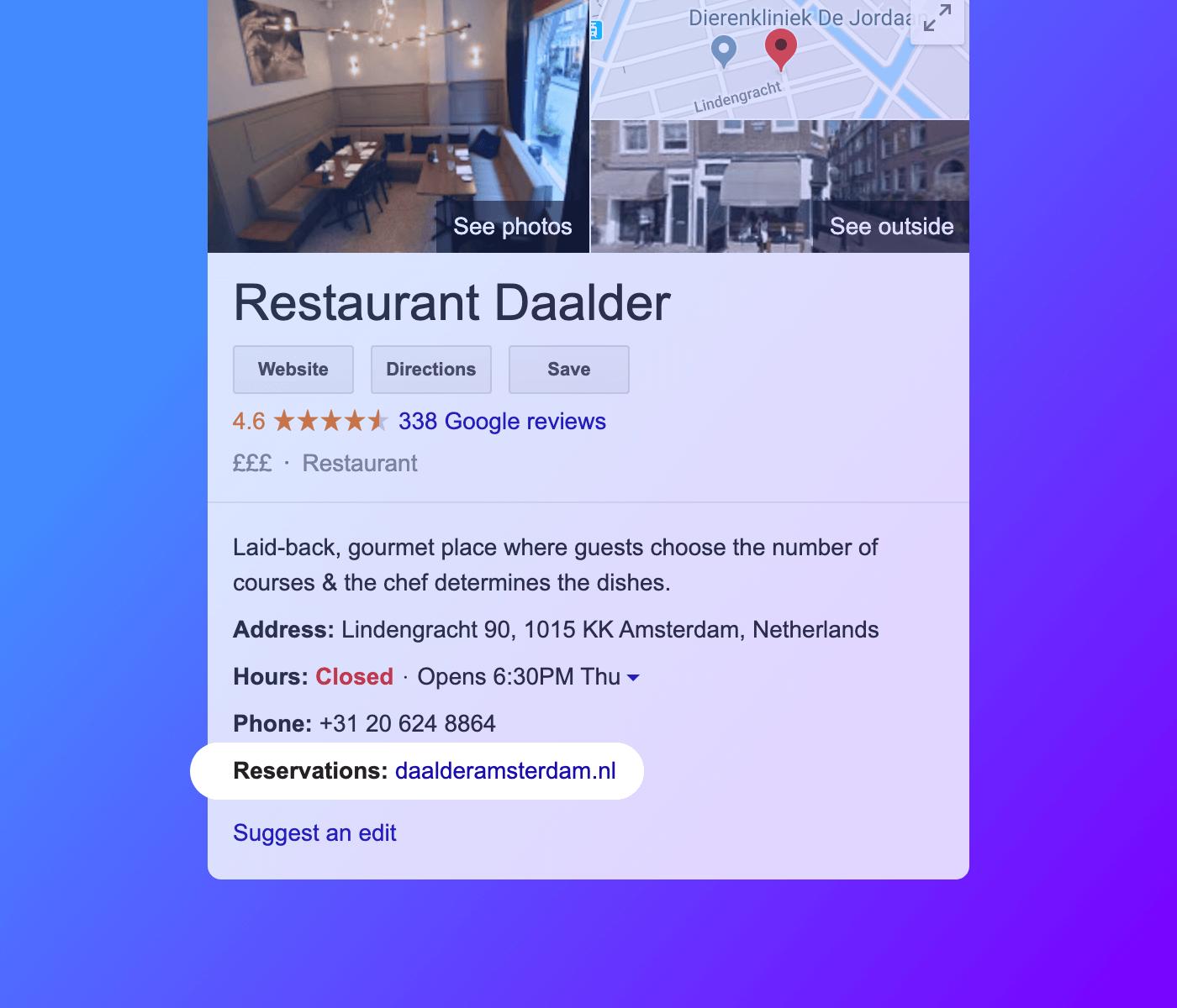 Adding a reservation link on Google