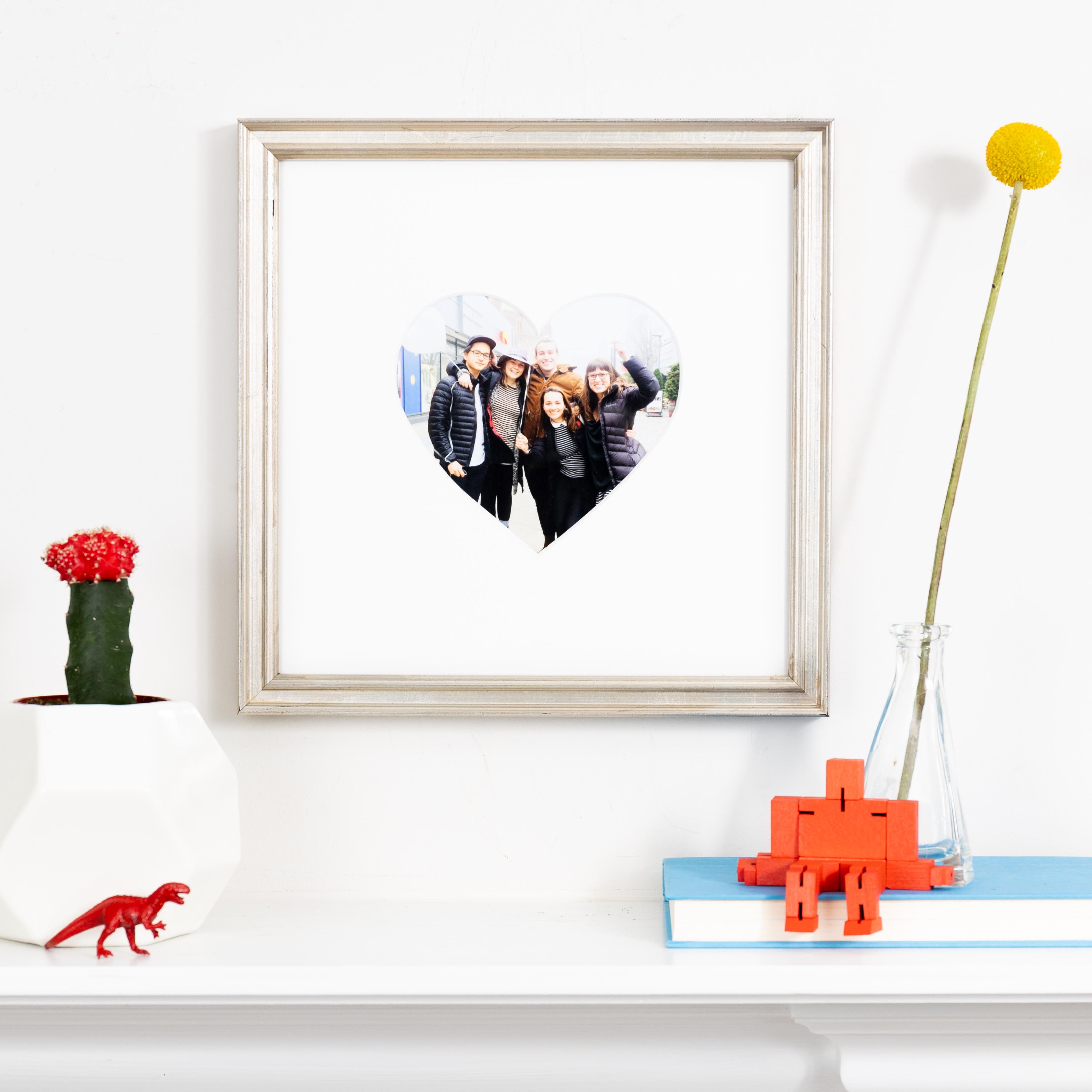 friends in heart shaped mat in silver frame